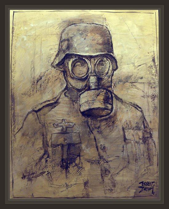 SOLDADO ALEMAN-MASCARA DE GAS-GERMAN SOLDIERS-WW2-GAS MASK-PINTURAS MILITARES-PAINTINGS-MILITARY-ERNEST DESCALS-